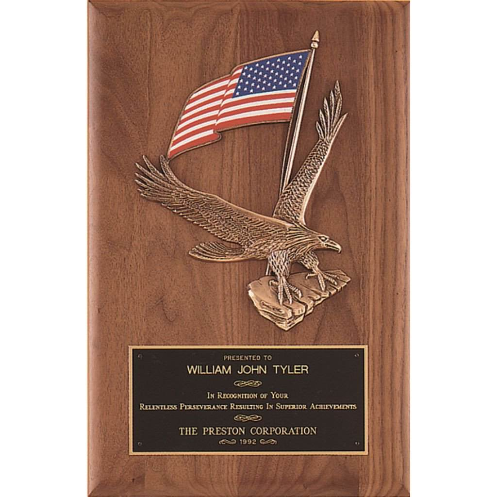 Walnut Plaque with Large Eagle Casting and American Flag