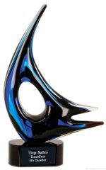14 1/4 inch Blue Sail Art Glass