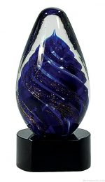 6 3/4 inch Blue Tear Drop Art Glass on Black Base