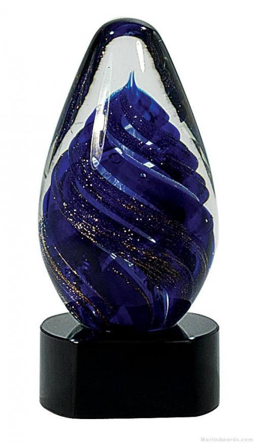 6 3/4 inch Blue Tear Drop Art Glass on Black Base