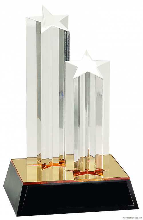 9 1/2″ Clear Double Star Column Acrylic with Gold/Black Base 1