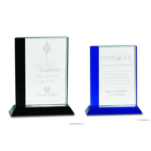 Black or Blue Edge Crystal Award on Black Base