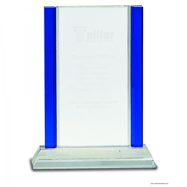 8 1/2″ Blue 2-Edge Crystal on Clear Base
