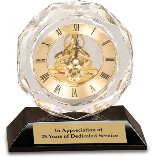 5 1/2 inch Clear Crystal Clock on Black Pedestal Base