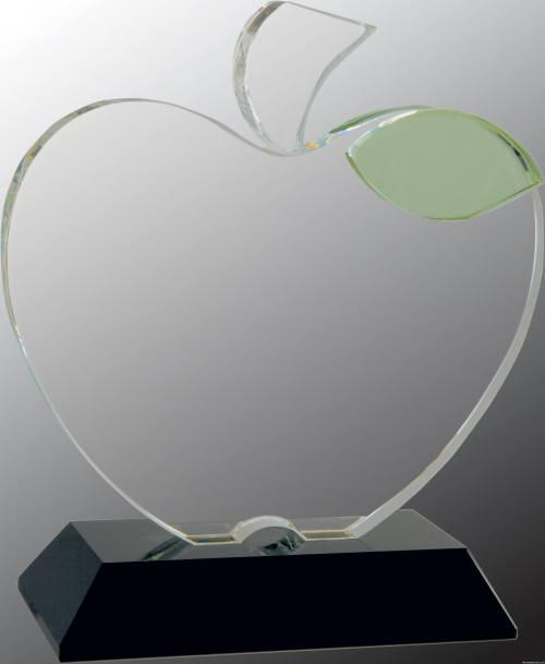6 1/4 x 5 1/2 Crystal Apple on Black Base