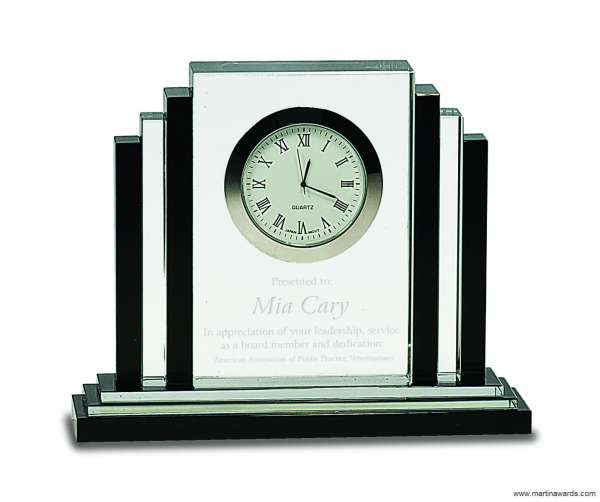 6″ Clear Crystal with Clock with Black Crystal Trim