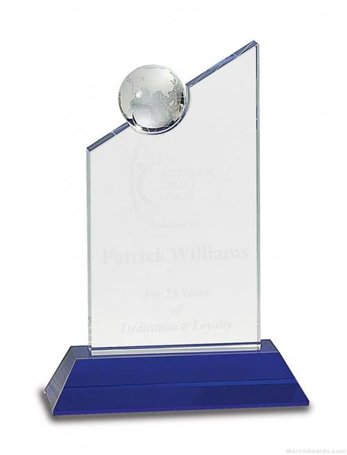 Clear Crystal with Inset Crystal Globe and Blue Base