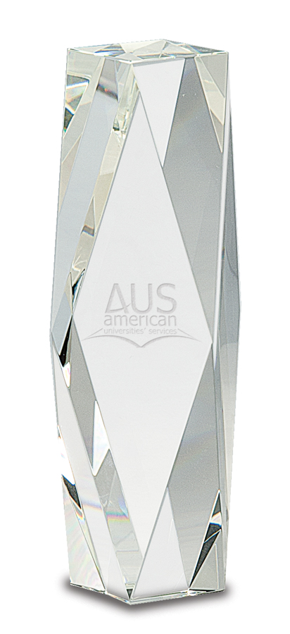8 inch Clear Crystal Facet Tower