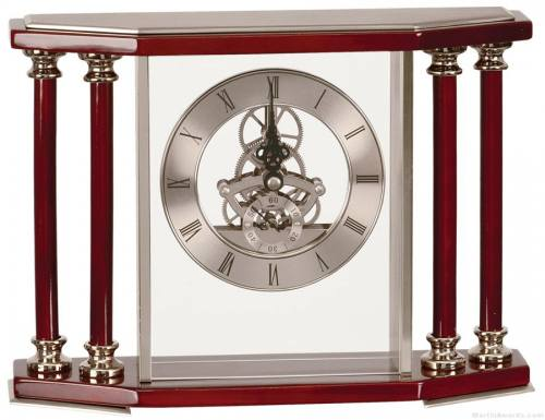 Silver/ Rosewood 4-Pillar Piano Finish Clock