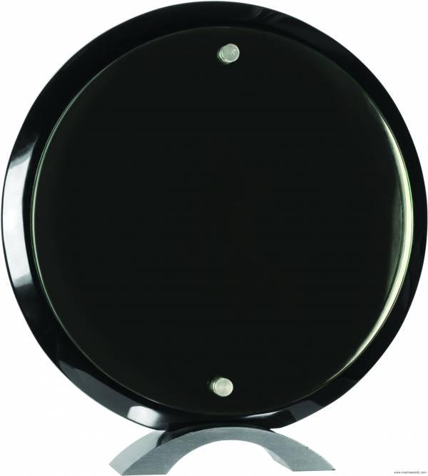 Round Black Piano Finish Floating Acrylic Standup Acrylic Award