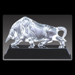 "13"" x 4 3/4"" Optical Crystal Bull on Black Base"
