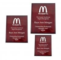 Rosewood High Gloss Color-fill Plaque - Square Corners