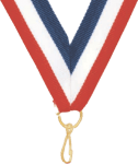 "7/8"" Red, White, Blue Neck Ribbon with Snap Clip"