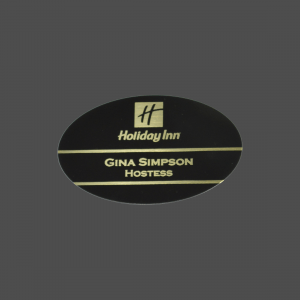 "2"" x 3"" Oval Black Brass with Gold Engraving Name Badge"