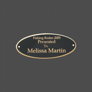 """2 1/2"""" x 7"""" Oval Black Brass Metal Name Tag with Gold Border"""