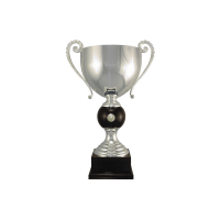 "18 1/2"" Silver plated Italian trophy cup with coin inset"