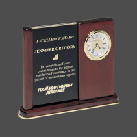 "6 3/4"" x 8 1/2"" Rosewood Upright Clock with 2 Engravable Plates"