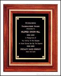 Plaque - Solid Walnut Frame Plaques with Gold Trim and Black Velour