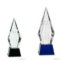 Obelisk Facet Crystal on Black or Blue Pedestal Base