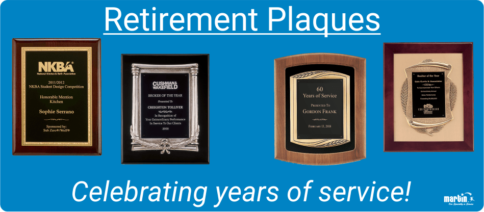 Retirement Plaques Personalized And Engraved Wording