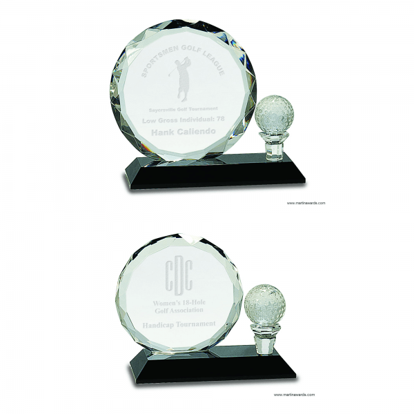 Round Facet Crystal with Golf Ball on Black Pedestal Base Awards