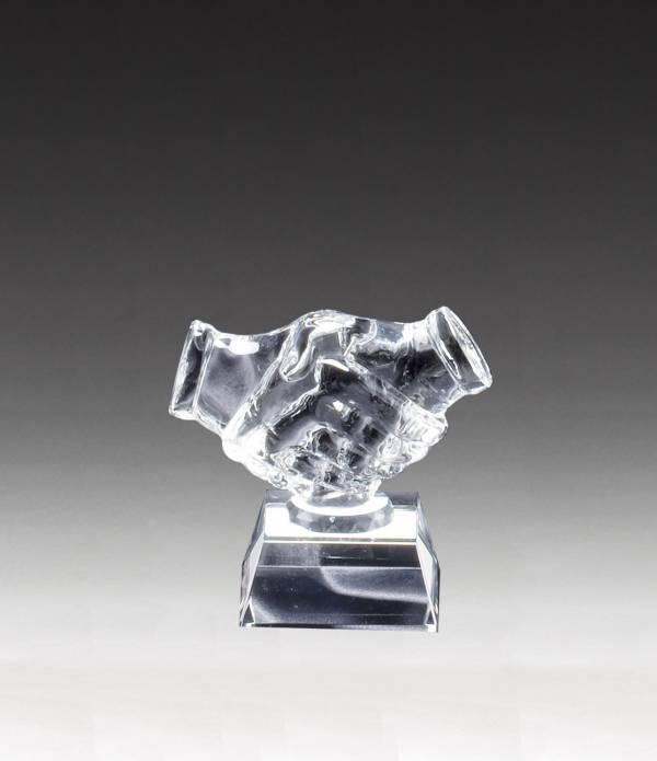 Crystal Shaking Hands Award