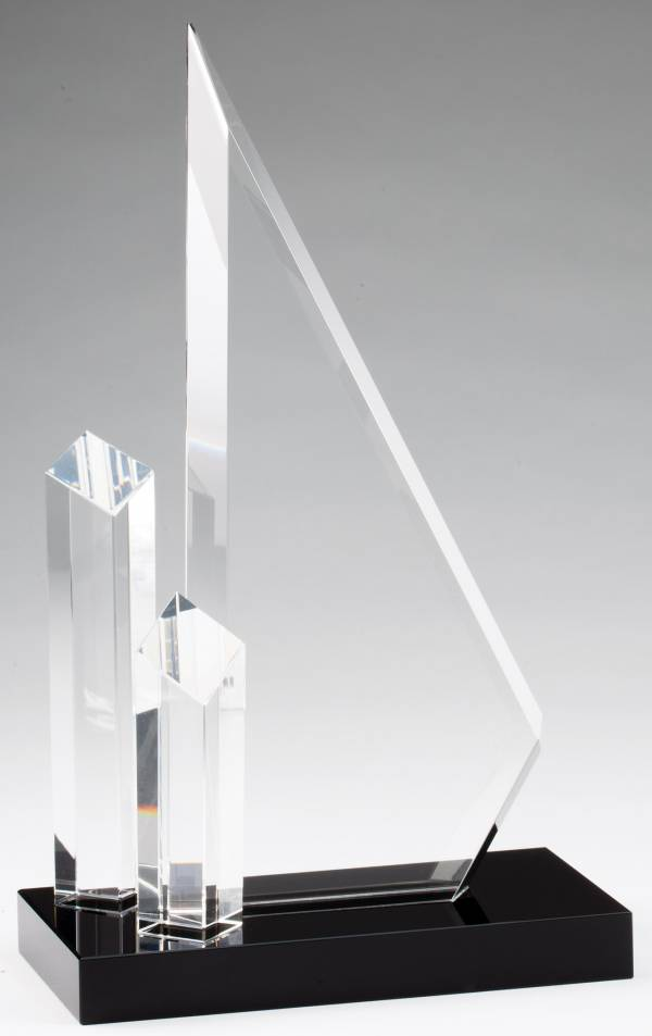 Crystal Triangle with Two Towers Award