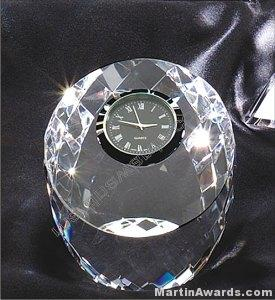 "Crystal Glass Awards - 3 1/2"" x 3"" Genuine Prism Optical Crystal With Clock"