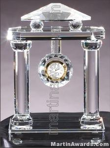 Crystal Glass Awards – 8 1/2″ x 12 1/2″ Genuine Prism Optical Crystal Clock 1