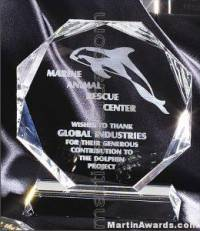 "Crystal Glass Awards - 6"" x 7"" Genuine Prism Optical Crystal"