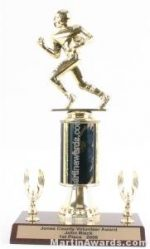 Black Single Column Football With 2 Eagles Trophy