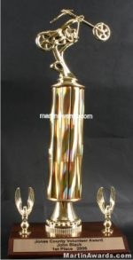 Gold Single Column Chopper With 2 Eagles Motorcycle Trophy