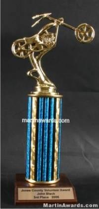 Blue Single Column Chopper Motorcycle Trophy