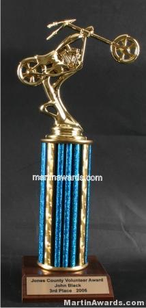 Blue Single Column Chopper Motorcycle Trophy 1