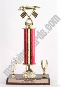 Red Single Column Pinewood Derby Car With 2 Eagles Trophy