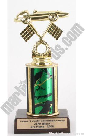 Green Single Column Pinewood Derby Car Trophy