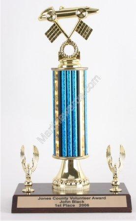 Blue Single Column Pinewood Derby Car With 2 Eagles Trophy 1