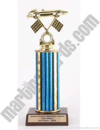 Blue Single Column Pinewood Derby Car Trophy 1
