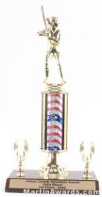 Red/White/Blue Single Column Female Softball With 2 Eagles Trophy