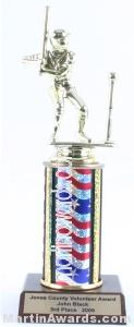 Red/White/Blue Single Column Male T-Ball Trophy 1