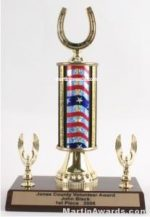 Red/White/Blue Single Column Horseshoe With 2 Eagle Trophy