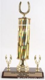 Gold Single Column Horseshoe With 1 Eagles Trophy