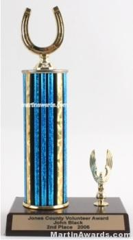 Blue Single Column Horseshoe With 1 Eagle Trophy 1