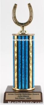 Blue Single Column Horseshoe Trophy