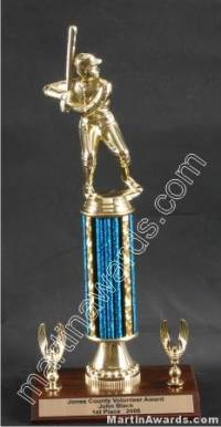 Blue Single Column Male Baseball/Softball With 2 Eagles Trophy