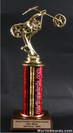 Red Single Column Chopper Motorcycle Trophy 1