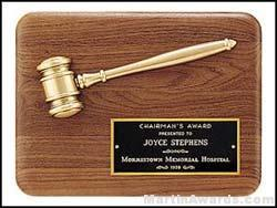 Plaque - Gavel Plaques with Antique Bronze Gavel