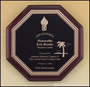 Plaque – Rosewood Stained Octagonal Plaque 1