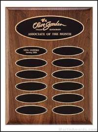 Plaque - Walnut Perpetual Plaques with Elliptical Plates