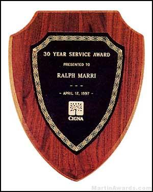 Plaque – American Walnut Plaque Shield Shape 1